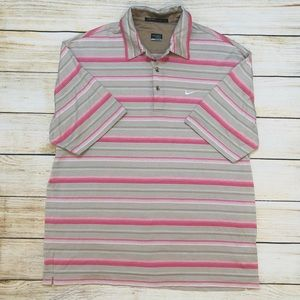 Tiger Woods Nike Golf Striped Fit Dry Polo Sz L